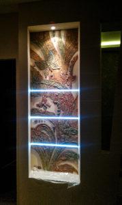 wall & lighting design in basement renovation