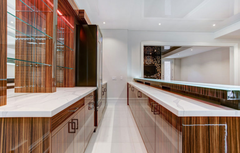 Basement Bar with Marble Countertops Glossy Finish