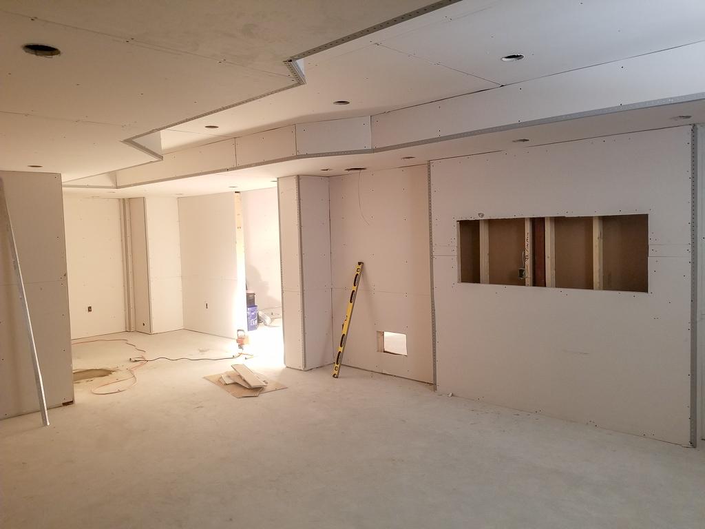 Basement Finishing Drywall Stage Image