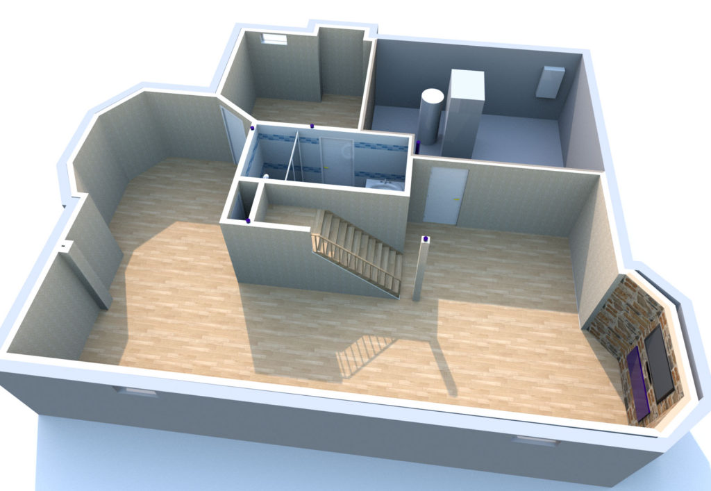 1058 SQFT Basement 3D Render
