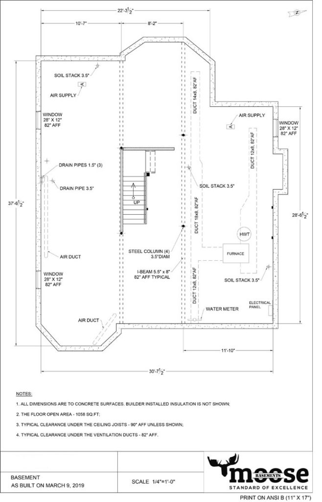 1058 SQFT Basement Floor Plan