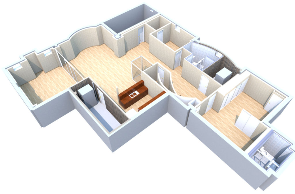 1901 SQFT Basement 3D Render