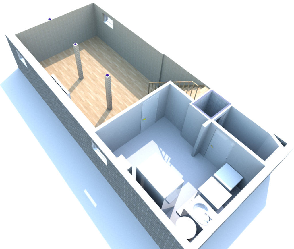 495 SQFT Basement 3D Render