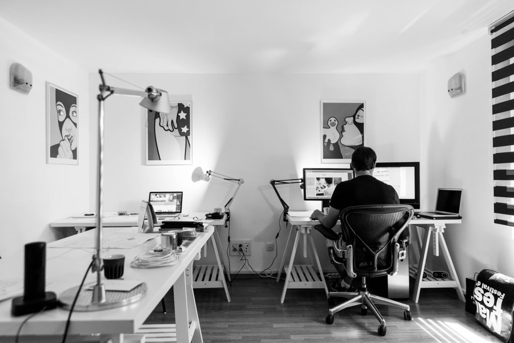 Home Office in The Basement by Moose Basement