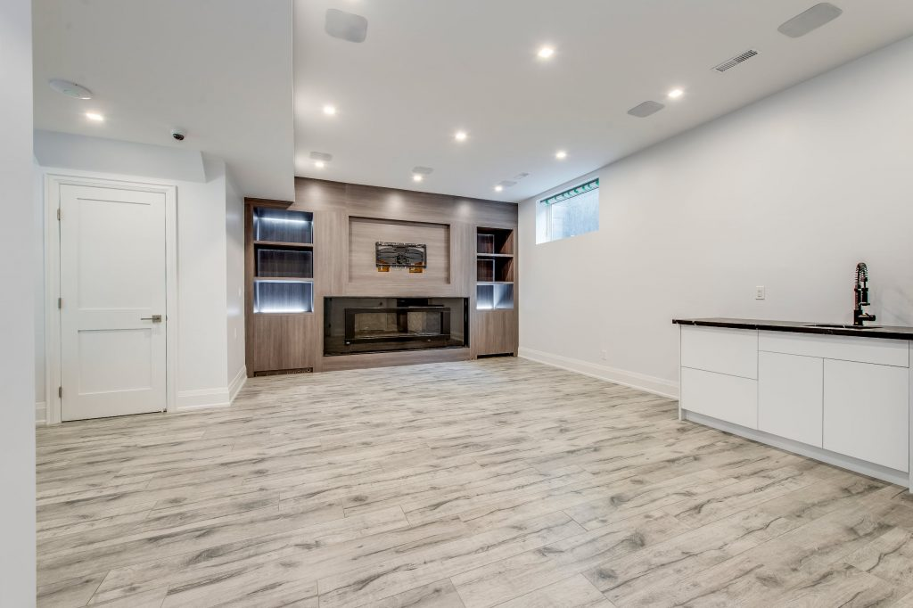 Luxury Basement Living Room with Build in Entertainment Unit