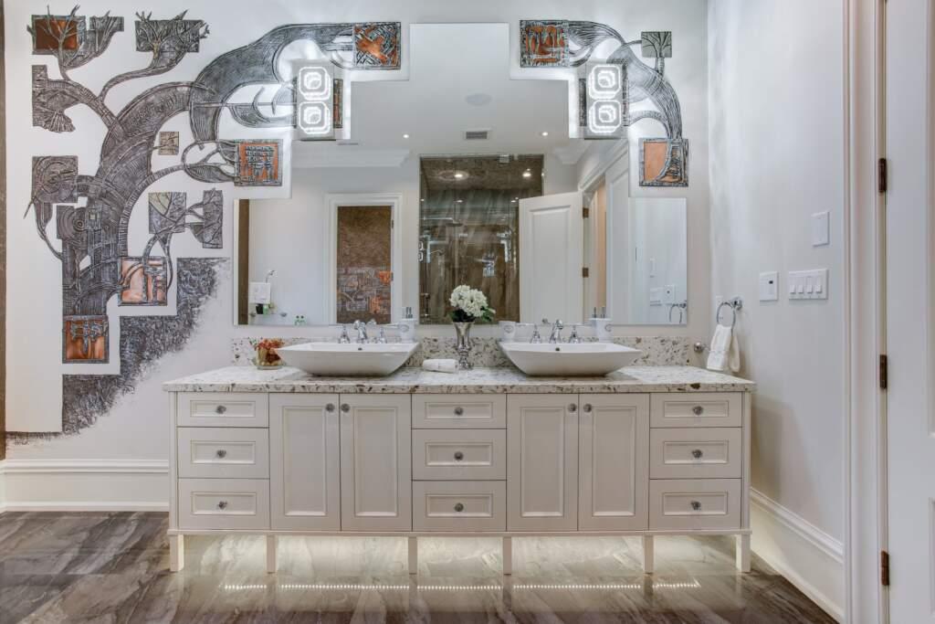 Modern Basement Bathroom Design with Custom Wall Mural - Basement Remodeling Newmarket