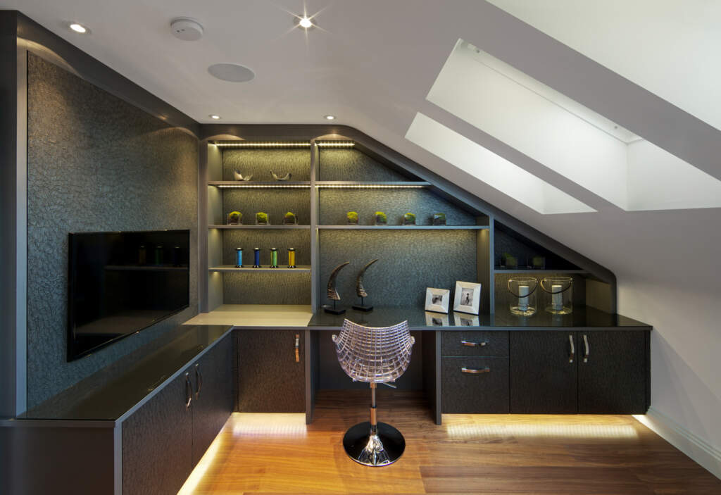 Modern Home Office with Backlit Wall Unit - Basement Remodeling Scarborough