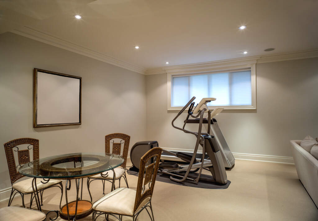 Open Space Basement with Small Dining Room and Gym - Basement Renovation Newmarket
