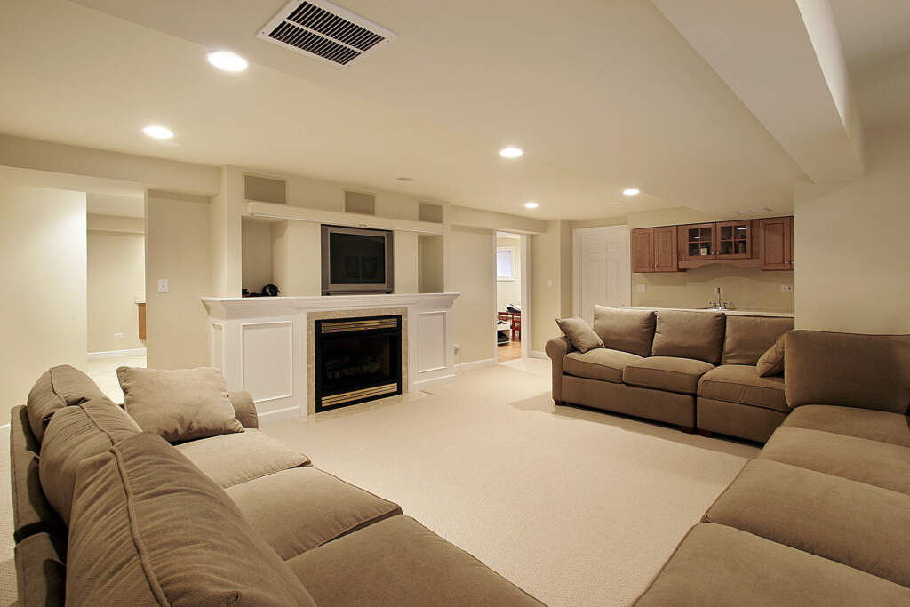 Open Space Basement with Small Kitchen and Family Room - Basement Remodeling Richmond Hill