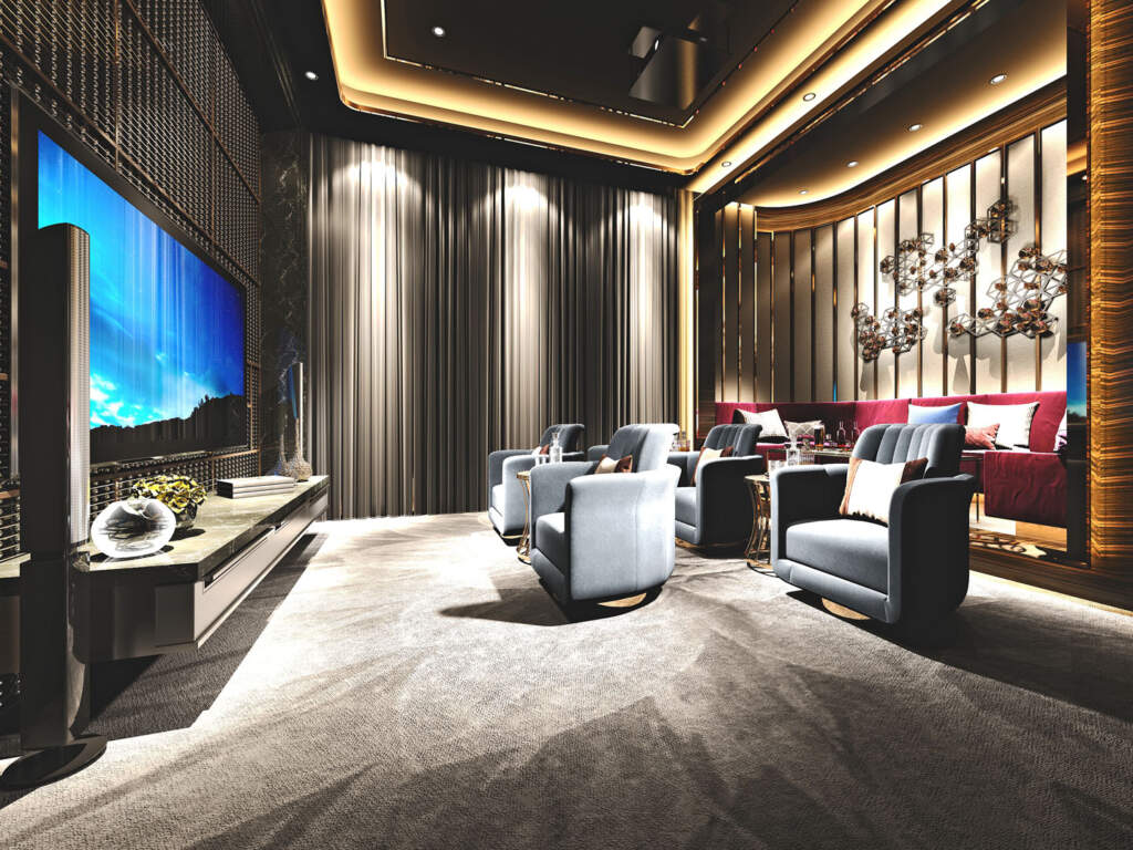 Luxury Basement Theater with Backlit Ceiling - Basement Design Newmarket
