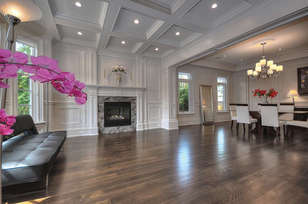 Classic Design in Walk in Basement with Waffle Ceiling - Basement Design Richmond Hill