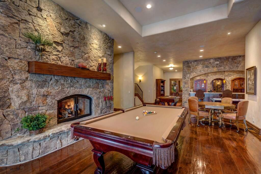 Amazing Basement Man Cave with Build in Fireplace and Pool Table - Basement Finishing Vaughan