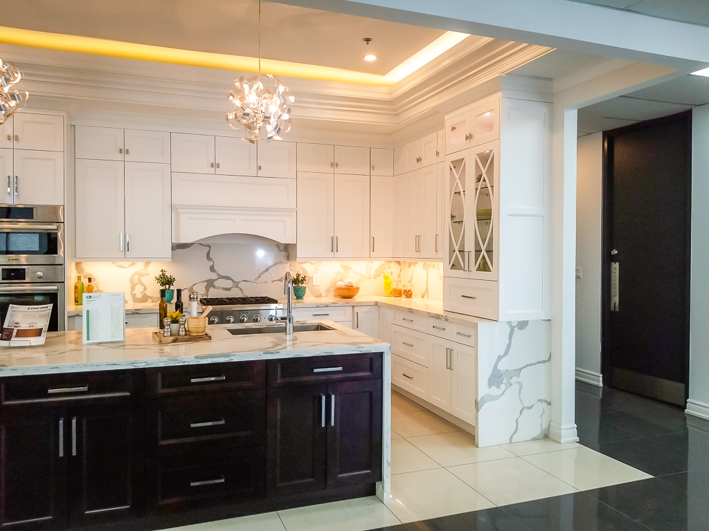 Basement Kitchen with Backlit Ceiling and Marble Counter Top - Basement Kitchen Renovation Mississauga