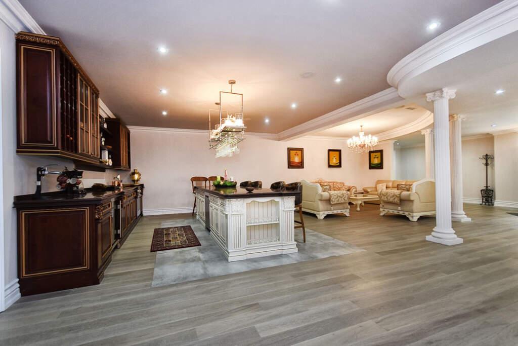 Modern Basement Kitchen and Family Room - Basement Finishing Company Markham