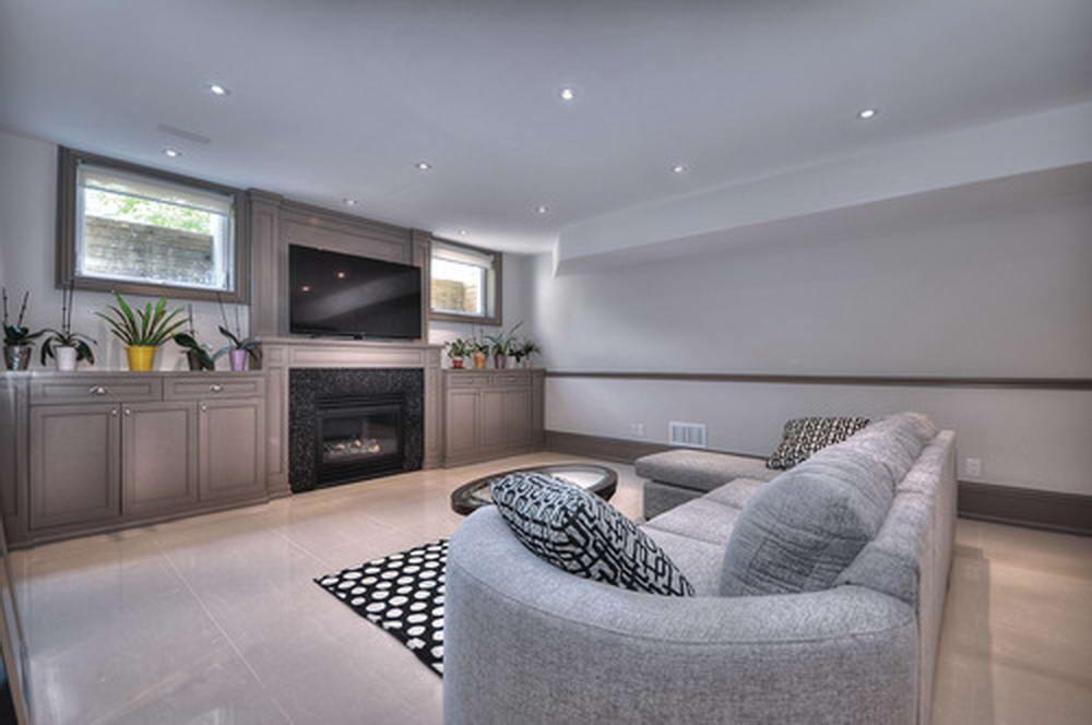 Modern Basement Living Room with Custom Wall Unit - Basement Finishing Richmond Hill