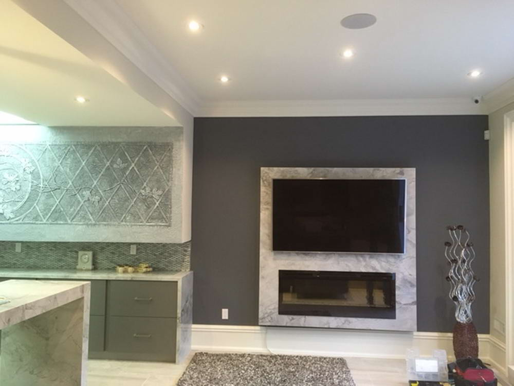 Basement Living Room with Luxury Wallpaper and Small Kitchen - Basement Design Brampton