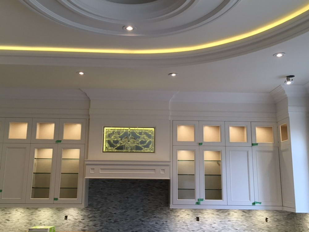 Backlit Kitchen Cabinets in Amazing Basement Kitchen Remodeling Project Toronto