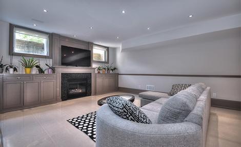 Modern Basement Family Room Design by Moose Basements Remodeling Vaughan